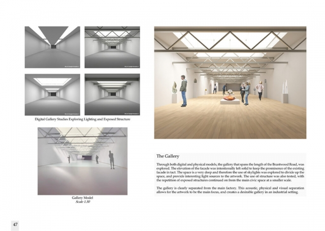 more interior models which show the testing of the formation of trusses in the gallery