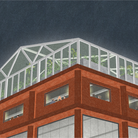 exterior render showing an upper section of  the gin works at night. The exterior is a rusty orange with a glass greenhouse on top.