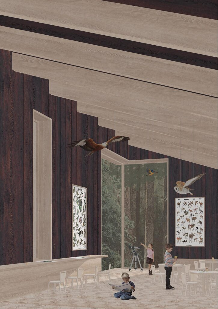 A view of the forest classroom. This space highlights the use of wood as both a building material, and view.