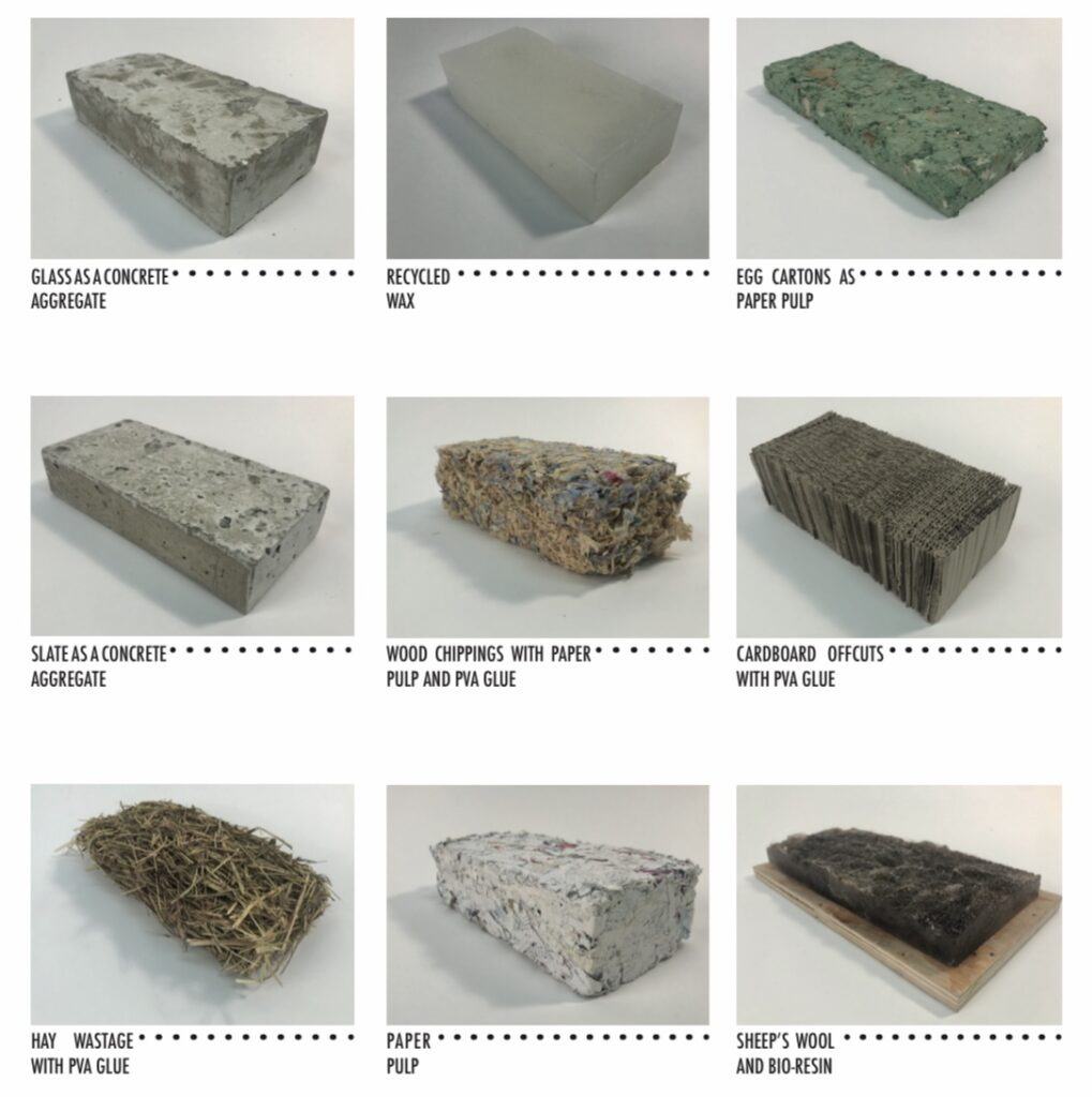 A series of studies were undertaken in order to test materials. These experiments highlighted materials that were sustainable in approach and structurally stable.