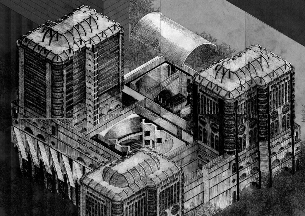 An axonometric drawing of the building proposal in context.