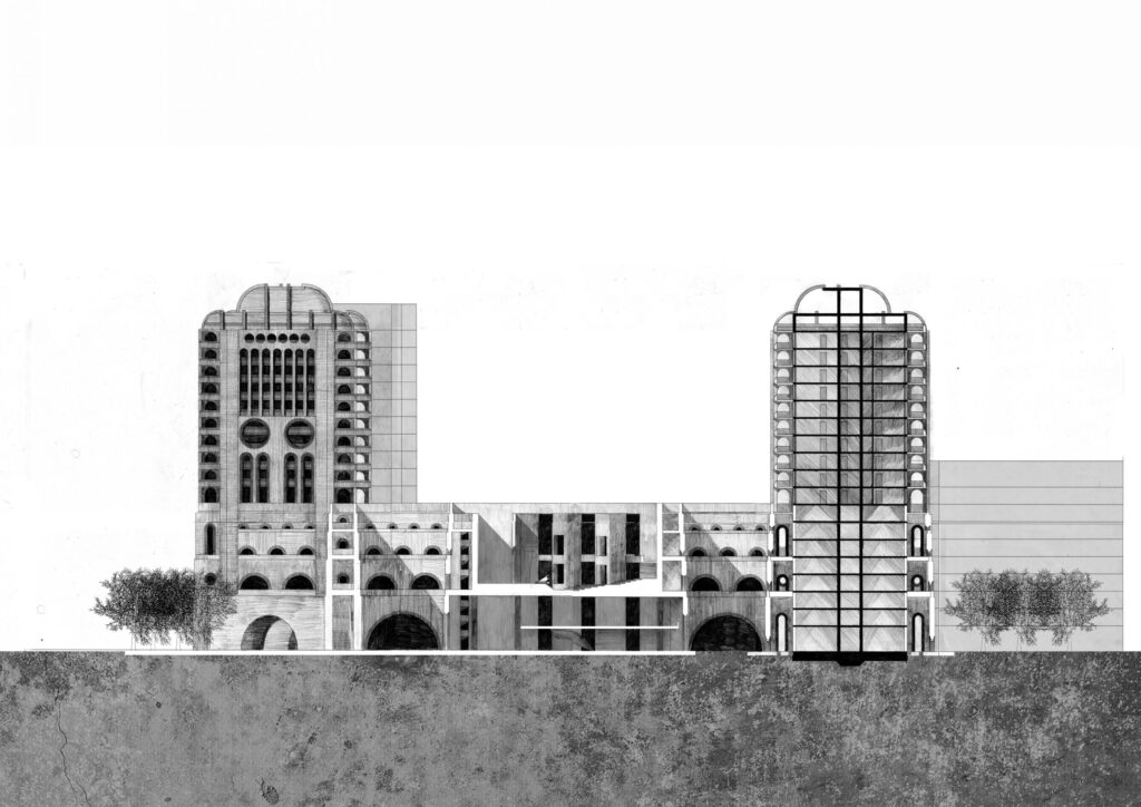 A section through the proposal and its surrounding context - the white section is through the new building structure while the black highlights the existing structure of Memory Tower.