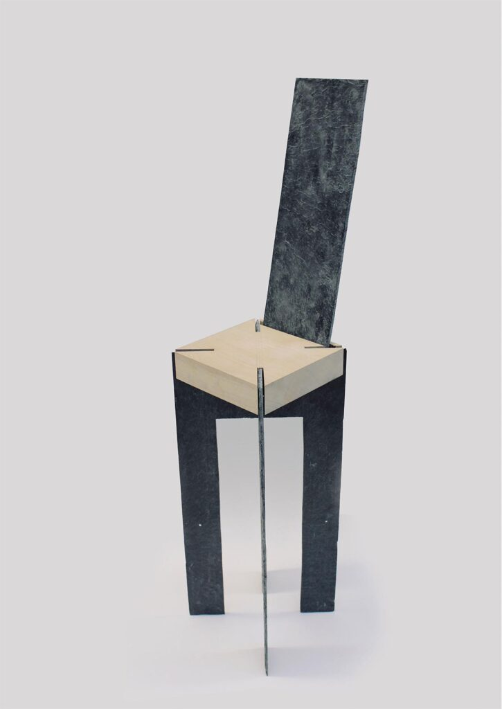 A study using locally sourced materials to handcraft a bespoke piece of furniture - in this case, slate and sycamore to create a bardic chair.