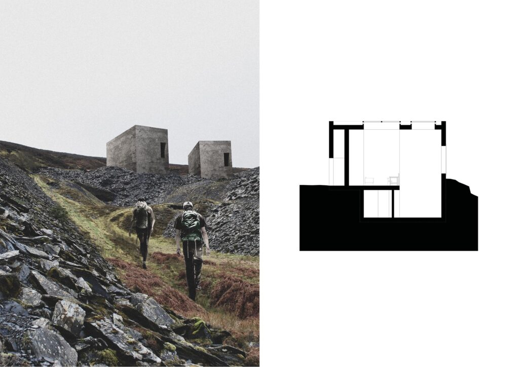The approach to the bothy, as both a 3D view and a section.