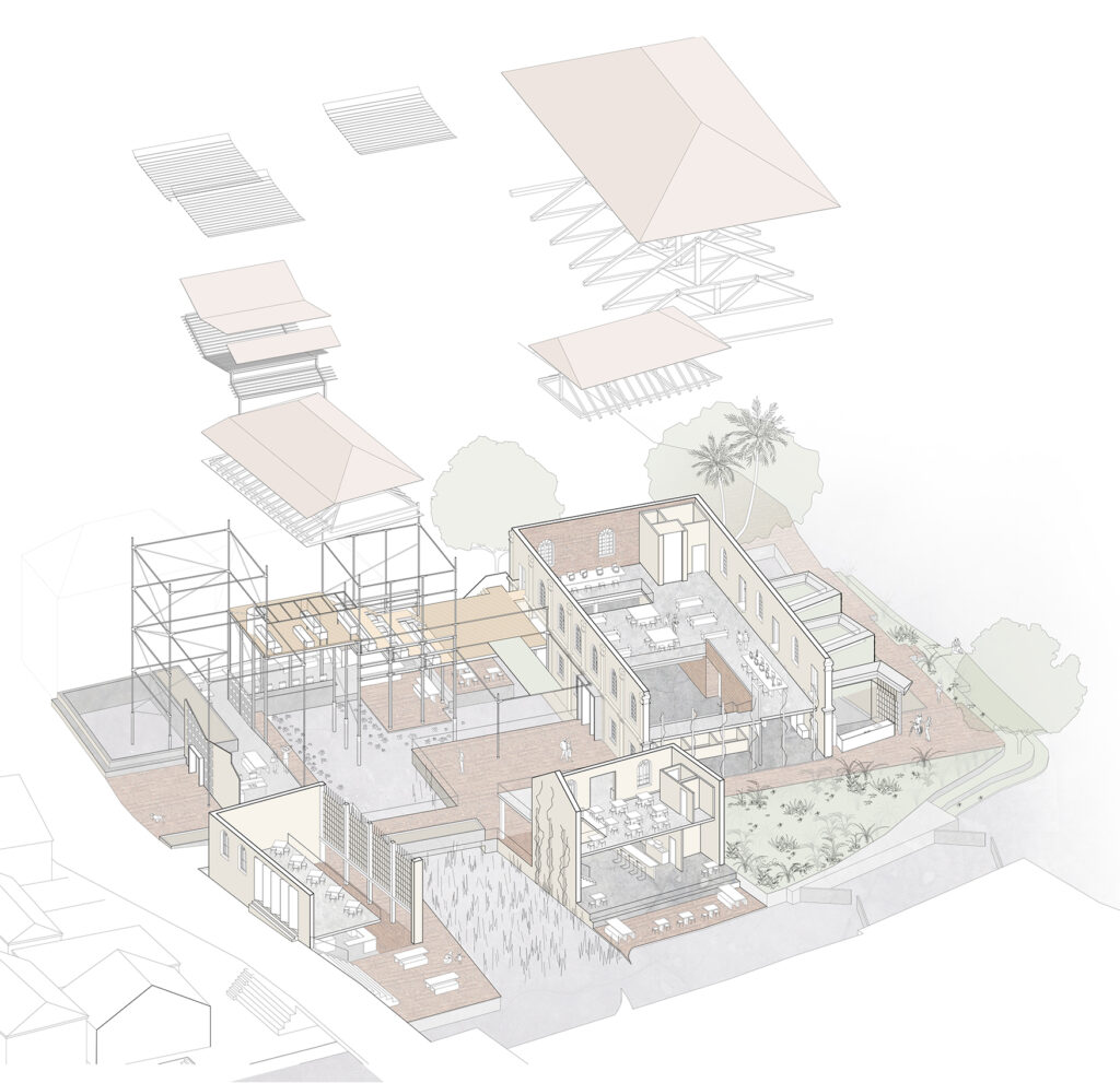 Exploded axonometric drawing showing the layout for the building