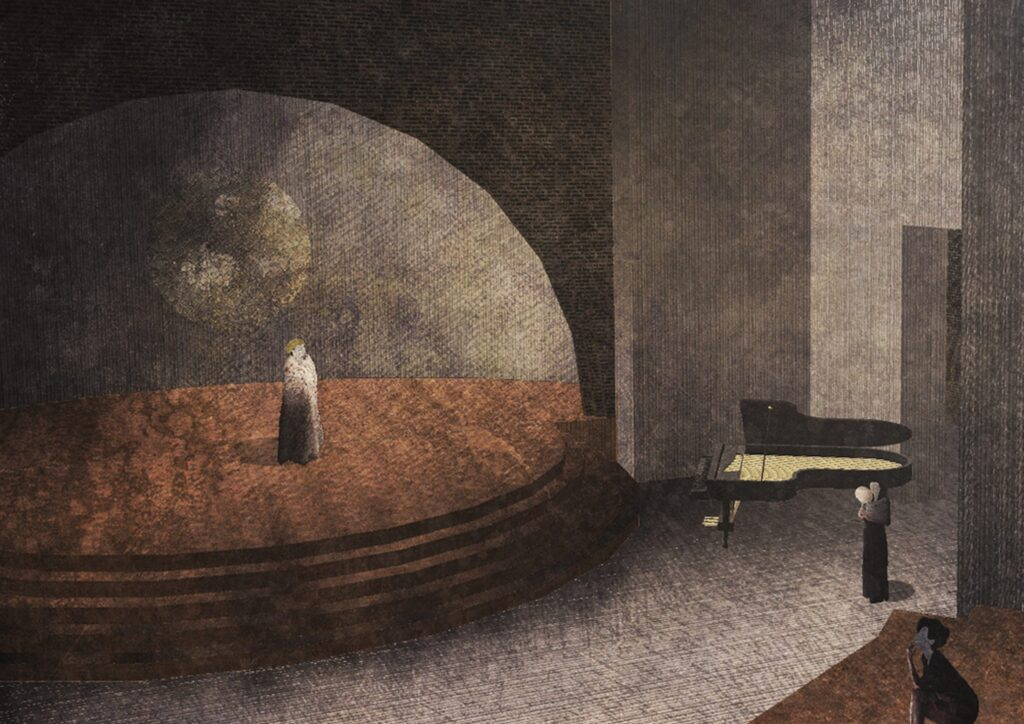 A 3D view of the Amphitheatre and theatre, focusing on the space and its atmosphere.