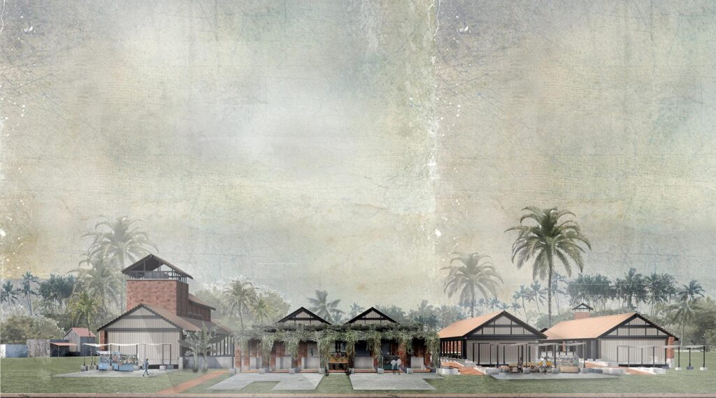An elevation of the site showing the various structures