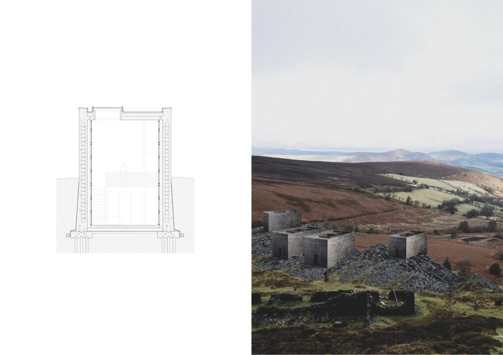 The view from the bothy, as both a section and 3D view looking out over the surrounding rural context.