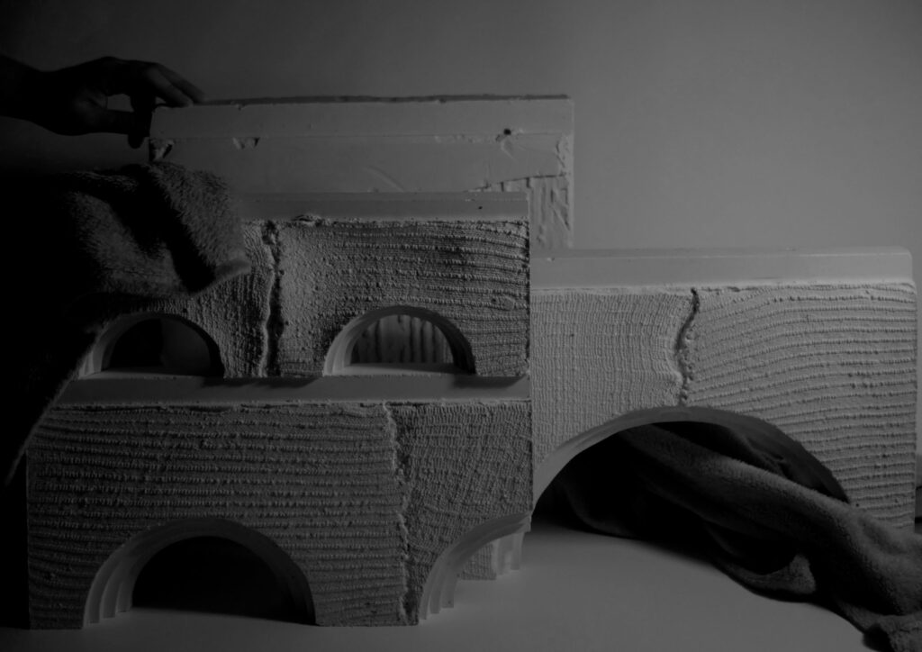 A study of the facade was undertaken, with focus into plaster and textile patterns.