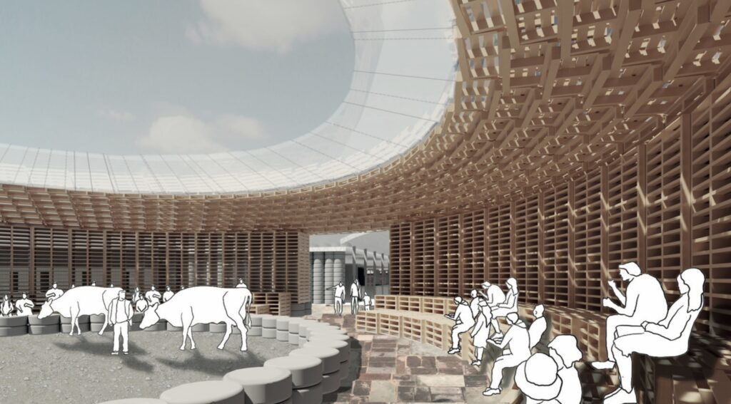 A 3D view of the main arena, a space constructed from reused tyres ad wooden pallets.