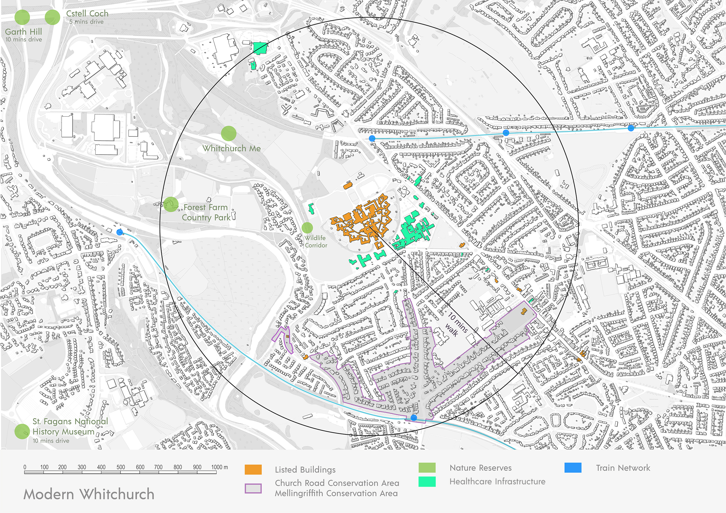 Portfolio Page showing the current site on a floor plan, showing the listed buildings, nature reserves, train network, healthcare infrastructure and conservation areas surrounding the site.