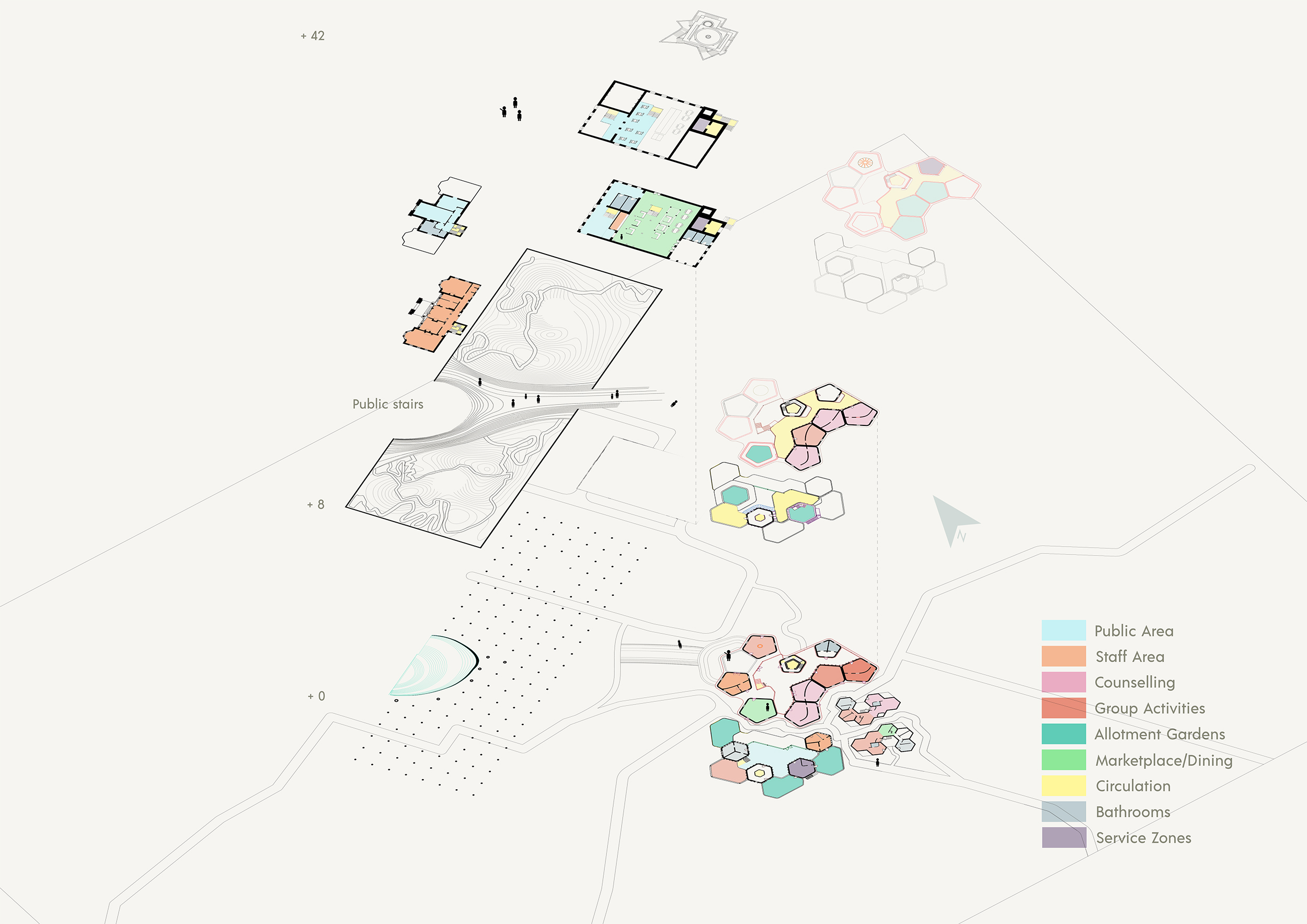 Portfolio Page of an exploded axonometric differentiating between the public areas, staff areas, counselling, group activities, allotment gardens, marketplace, circulation, bathrooms and service zones.