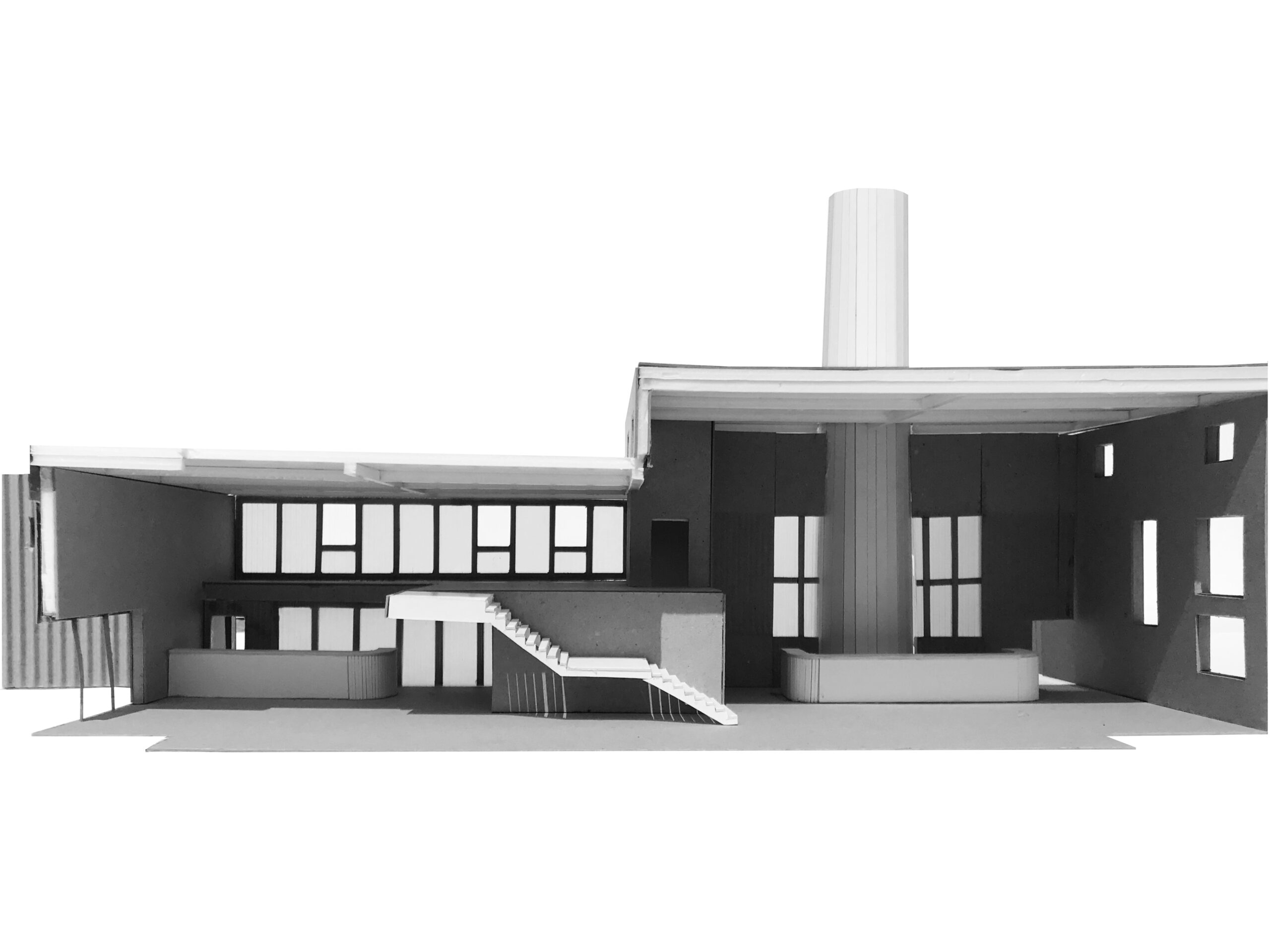 An Interior model of the bottling building. It is grey in colour and shows reception desk to the right and stairs up to the mezzanine on the left