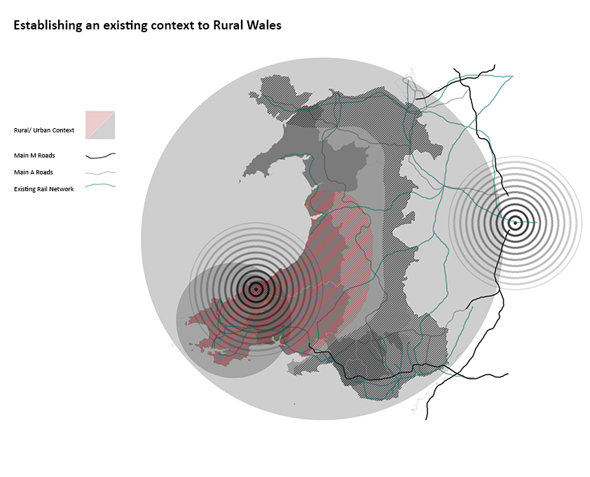 A map of Wales highlighting routes, networks and focal points.