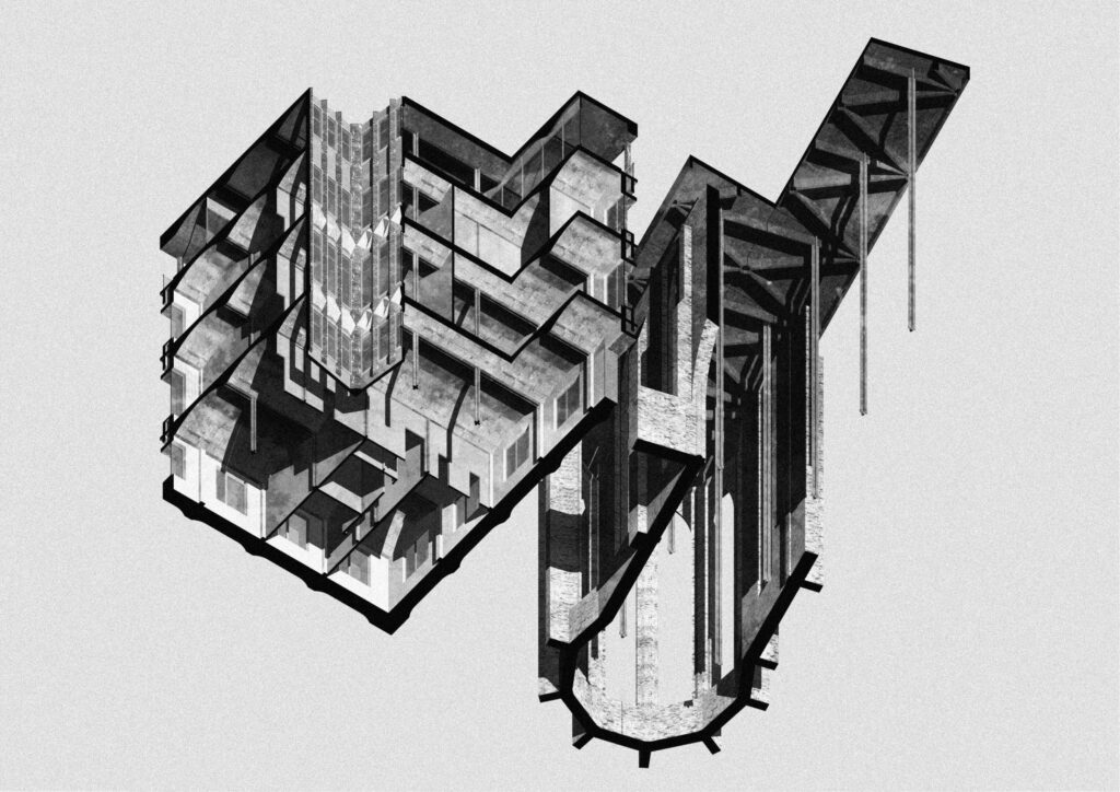 A sectional axonometric looking up through the proposed building and the existing ruin.