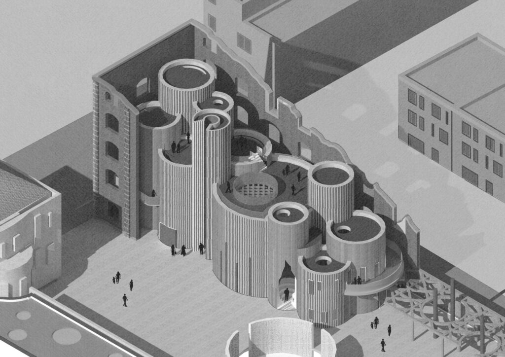 An axonometric view highlighting the set-back of the Anti-Museum from the partially demolished existing factory.