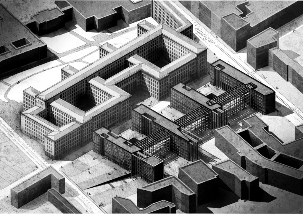 An axonometric showing the proposed scheme within the city's context.