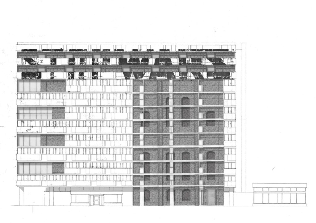 An elevation of the proposed building, highlighting its facade make-up.