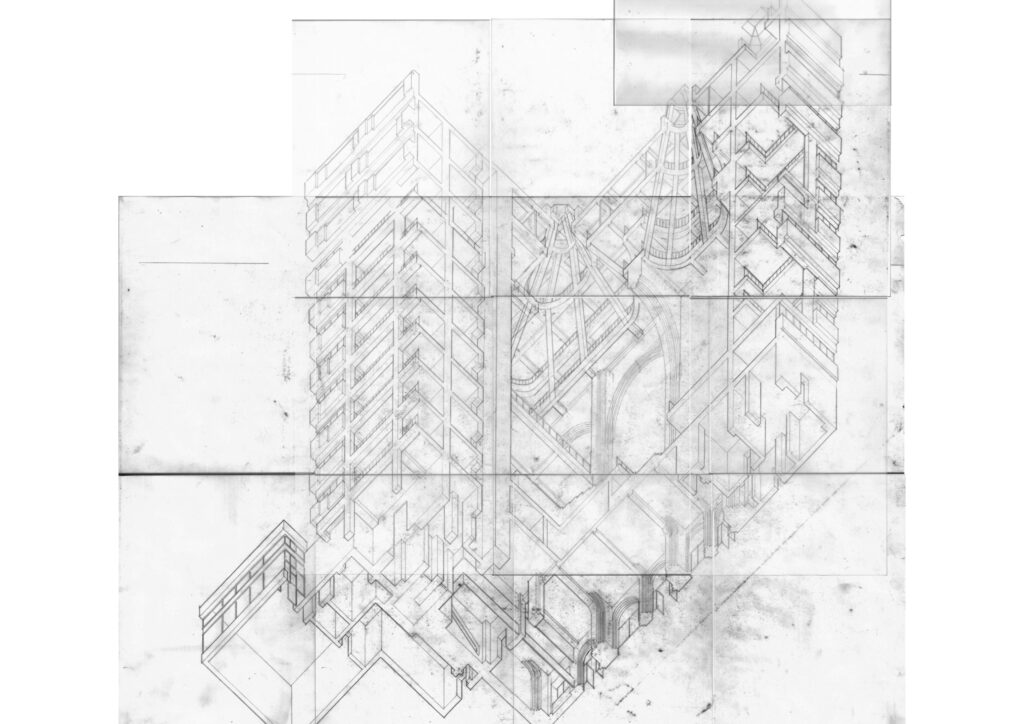 An axonometric focusing on the relationship between the front facade, theatre, occult and brick arches, looking at the concept of a building within a building.