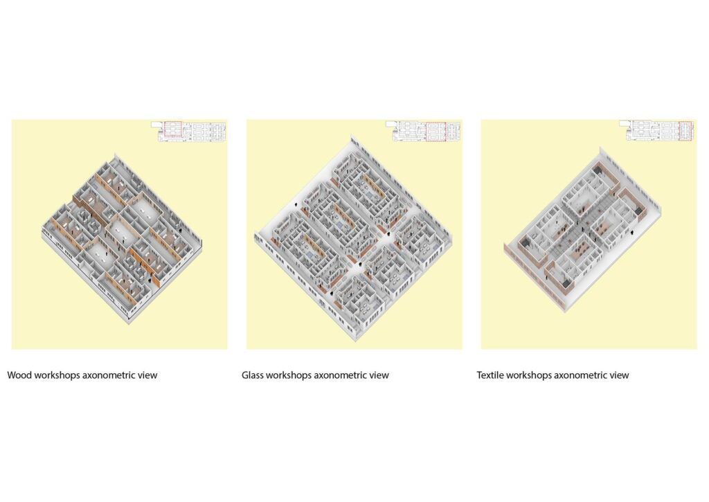 Axonometric views focusing on 3 of the main programmes within the scheme - wood, glass and textile workshops.