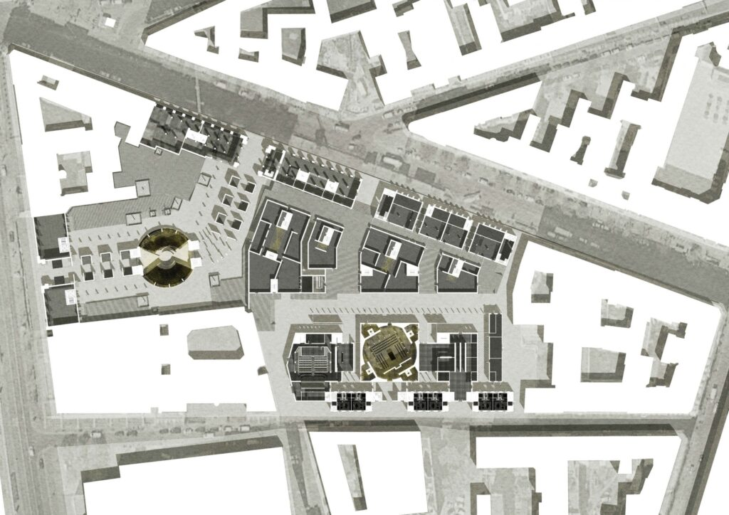 The full masterplan shows the proposal in amongst the entire block.
