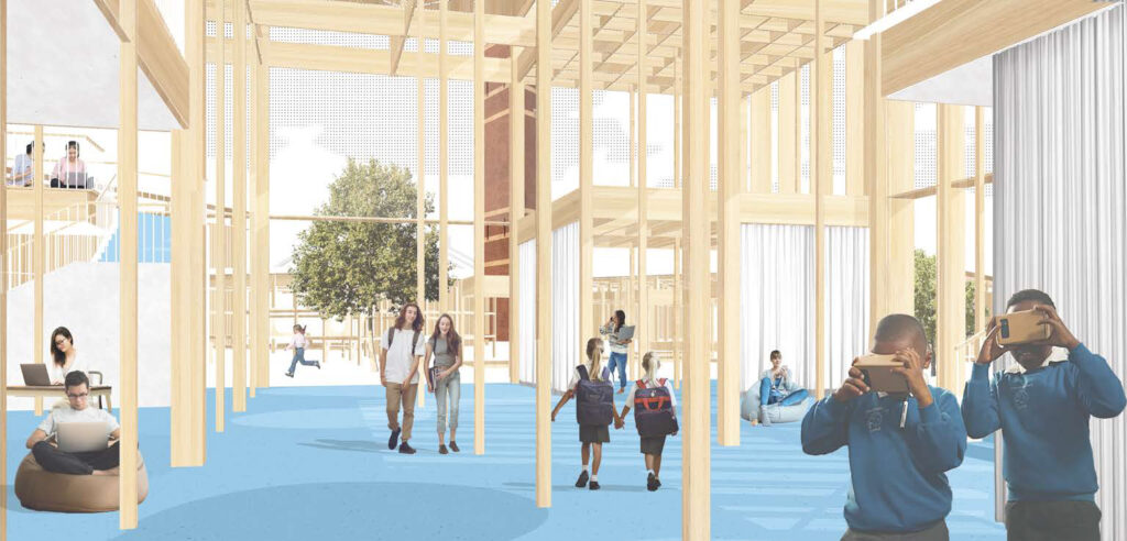 A perspective of the personal learning space, with timber columns and blue flooring to distinguish between the other spaces.