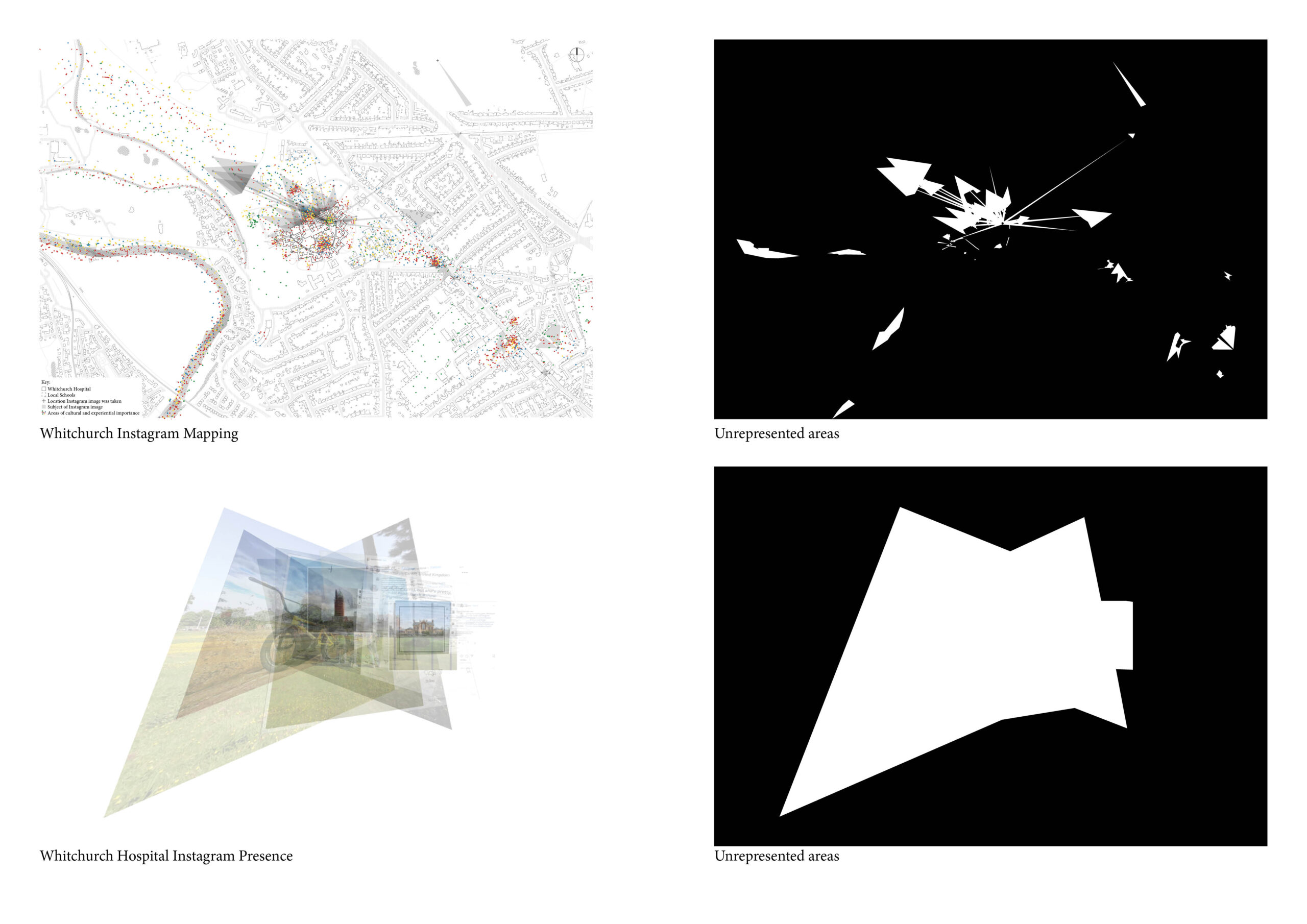 Portfolio Page of mapping exercises, exploring how the area is represented through Instagram.