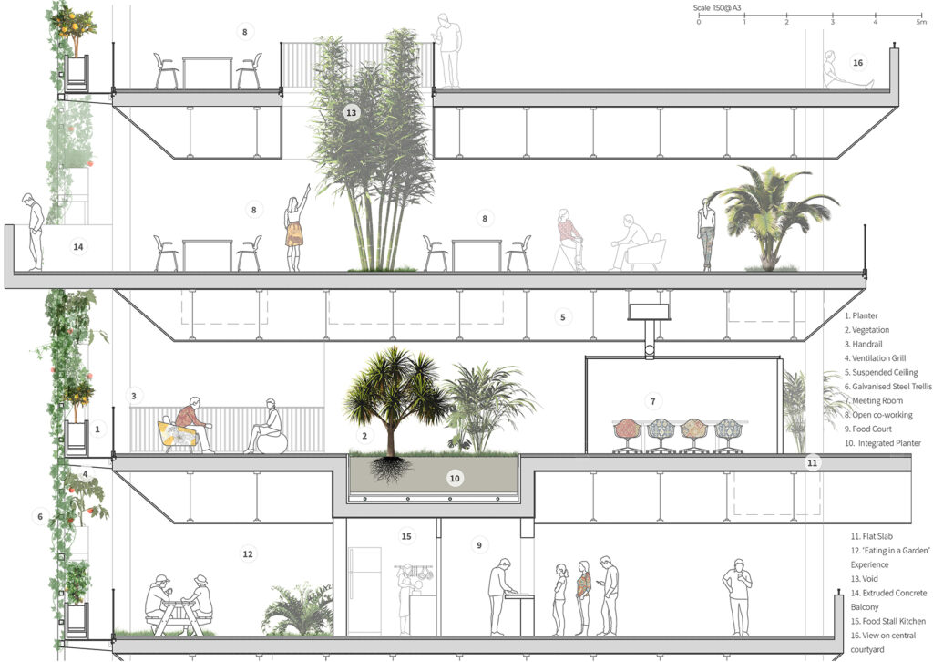 Detailed section through building showing interactions between everyday life and surroundings