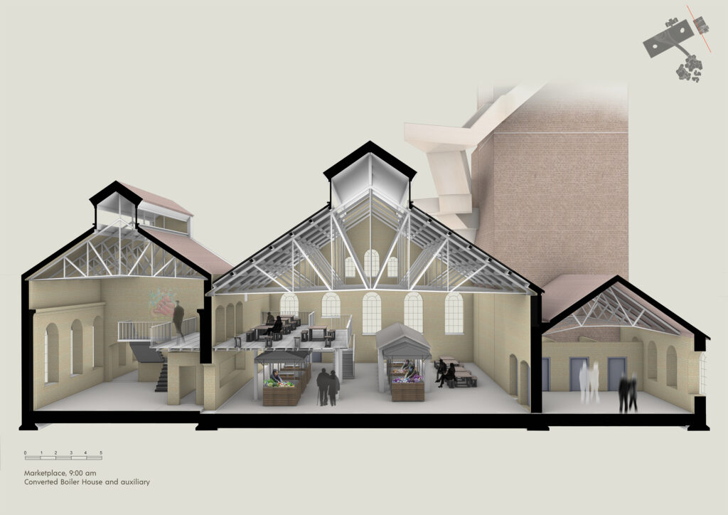 A perspective section of the marketplace in the converted boiler house and auxiliary.