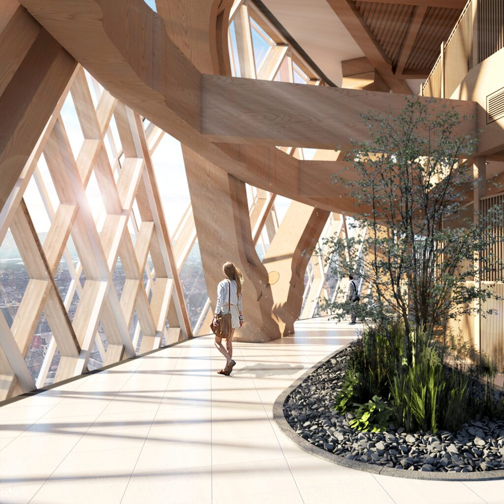 An internal view of the communal/ breakout spaces, showing the structural elements and landscaping within the public realm at such a height.