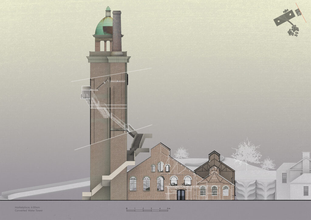 An elevation of the marketplace showing the water tower and new stairs that go up the tower.