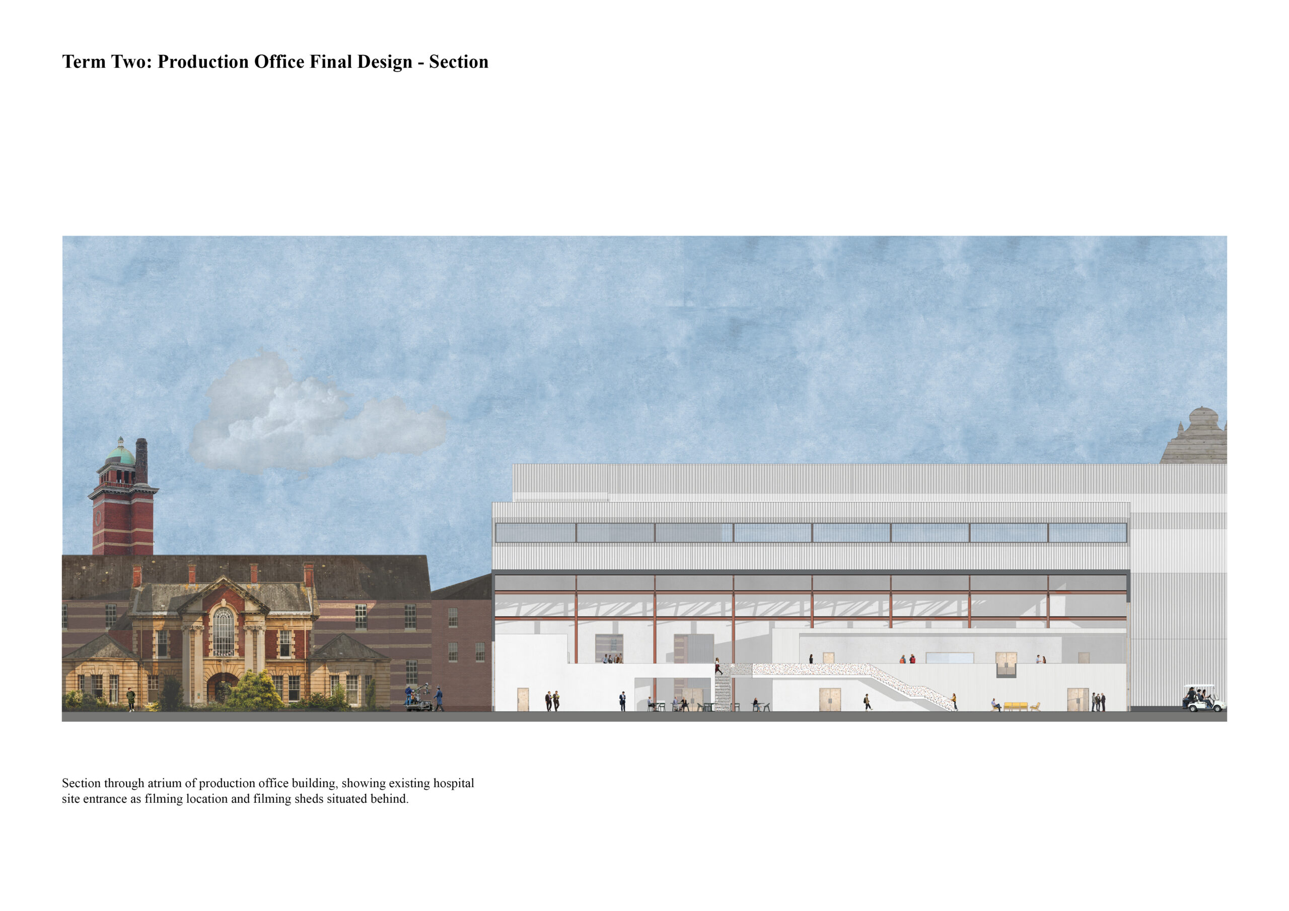 Portfolio Page of a section of the production office that showcases the atrium and the existing hospital behind.