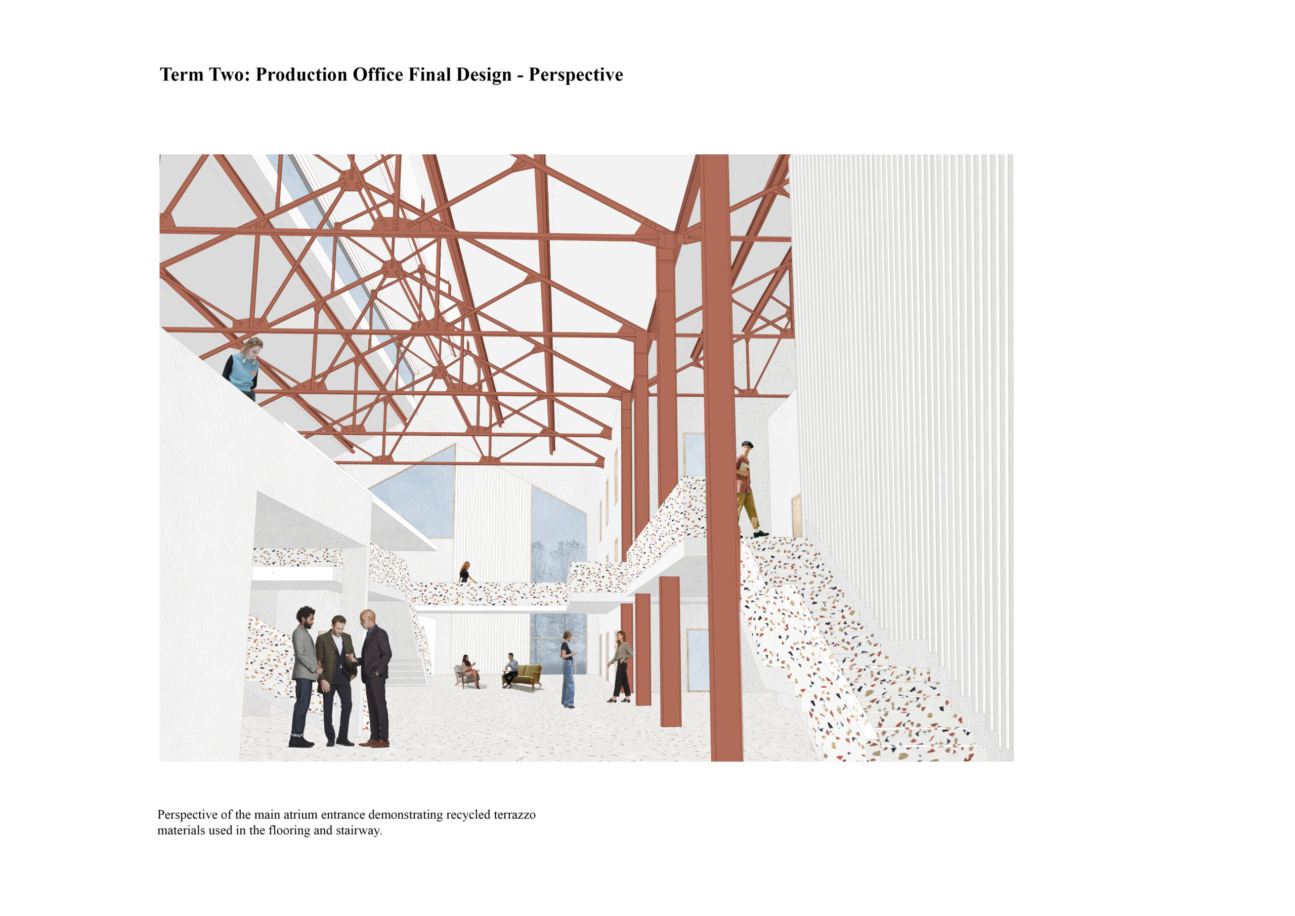 Portfolio Page of a perspective of the production office, focusing on the main atrium space demonstrating recycled terrazzo materials used in the flooring and the stairway.