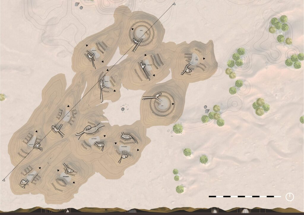 A masterplan and site section drawing showing the location and formation of the dunes.