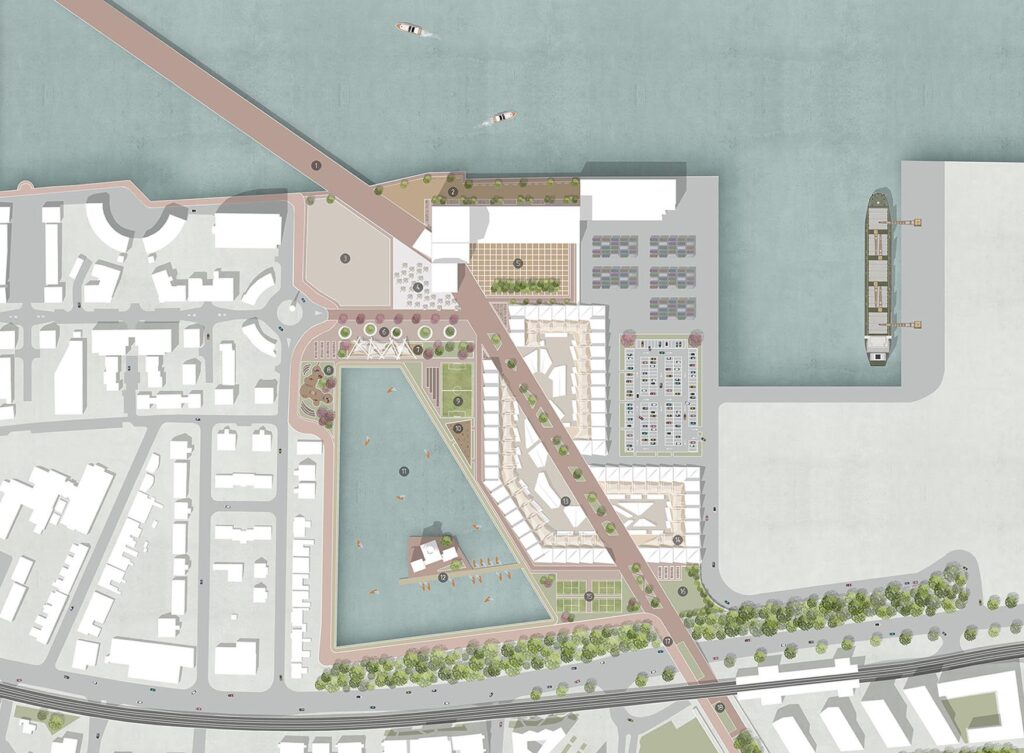 A masterplan view showing the wider site context.