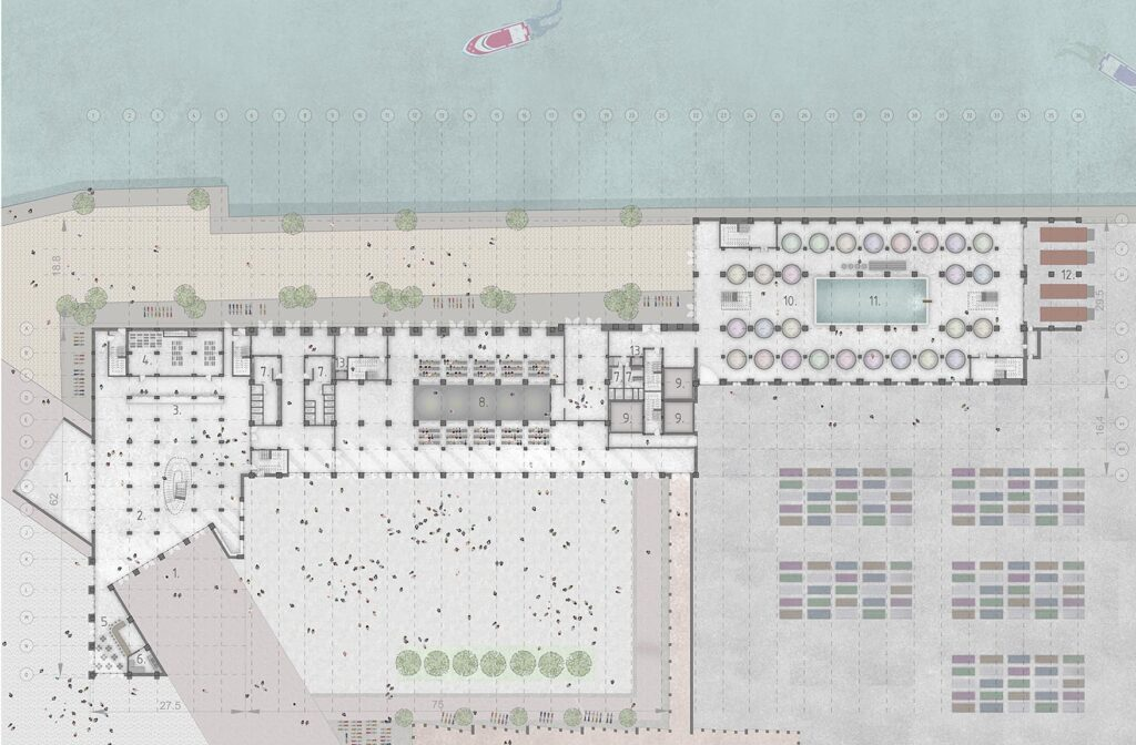 The proposed scheme's ground floor plan, highlighting industrial zones, and the buildings proximity to the waters edge.