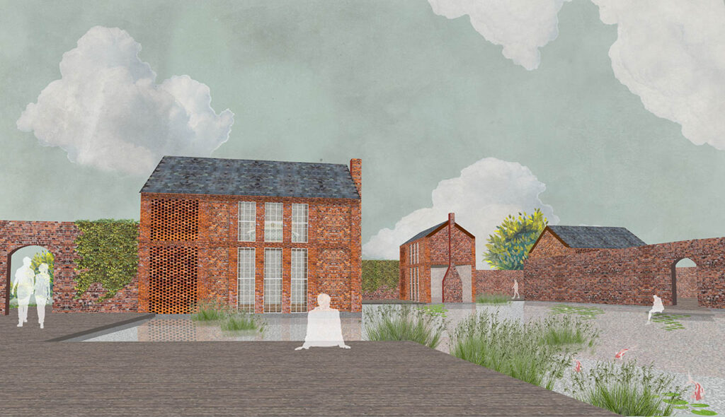 Exterior render of the accommodation clusters. Three small red brick houses with reclaimed slate roofs are seen arranged around a shallow pool of water. Brick walls form perimeters that break up the space, frame views and provide privacy.