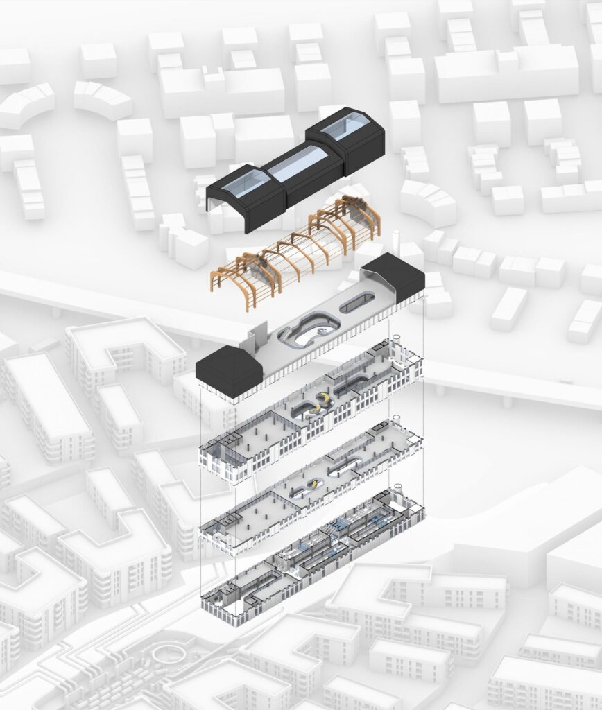 An exploded axonometric of the central waste management building within the masterplan.
