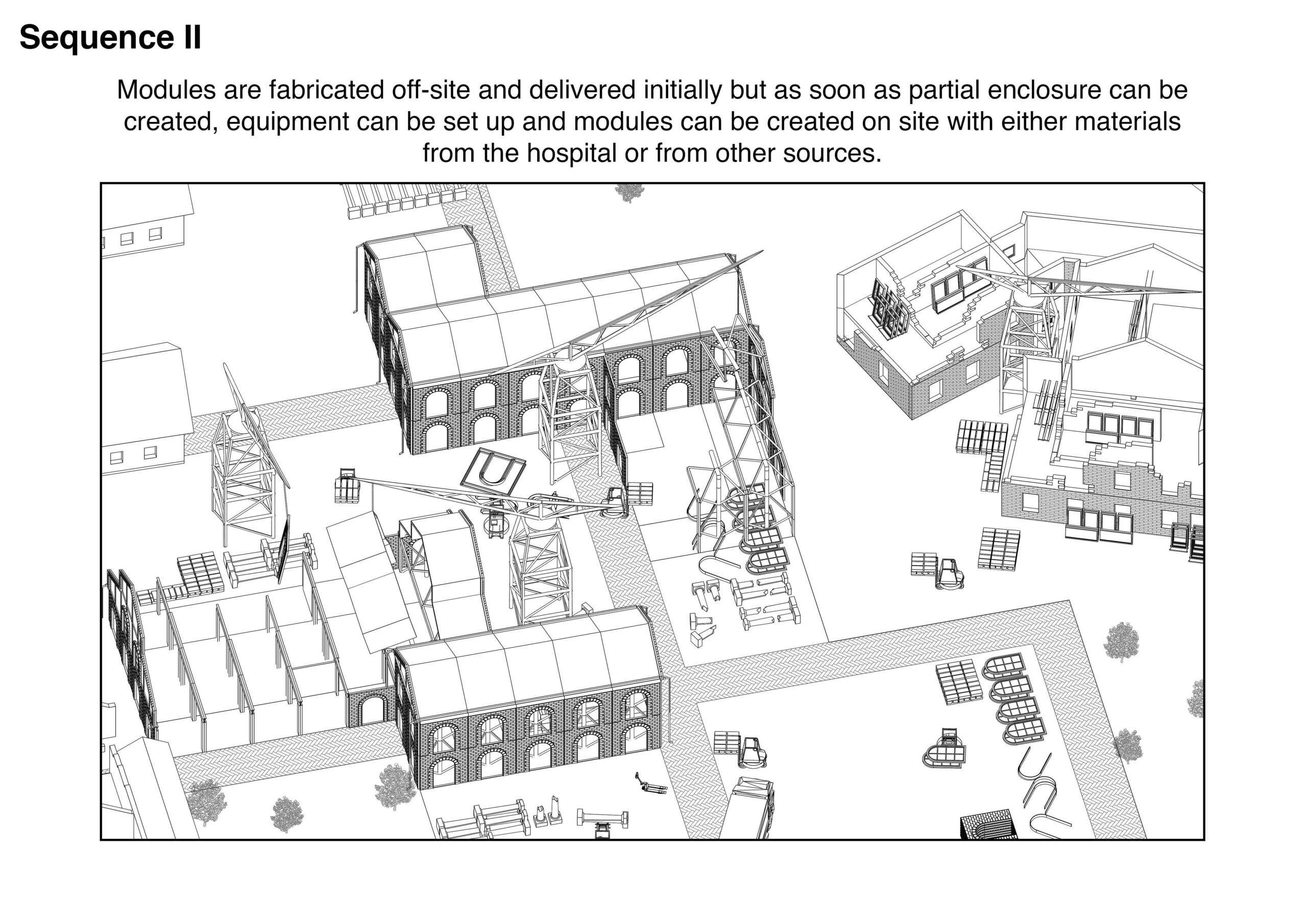 Portfolio Page of an axonometric drawing that shows the second stage of the process, with materials fabricated off site and delivered