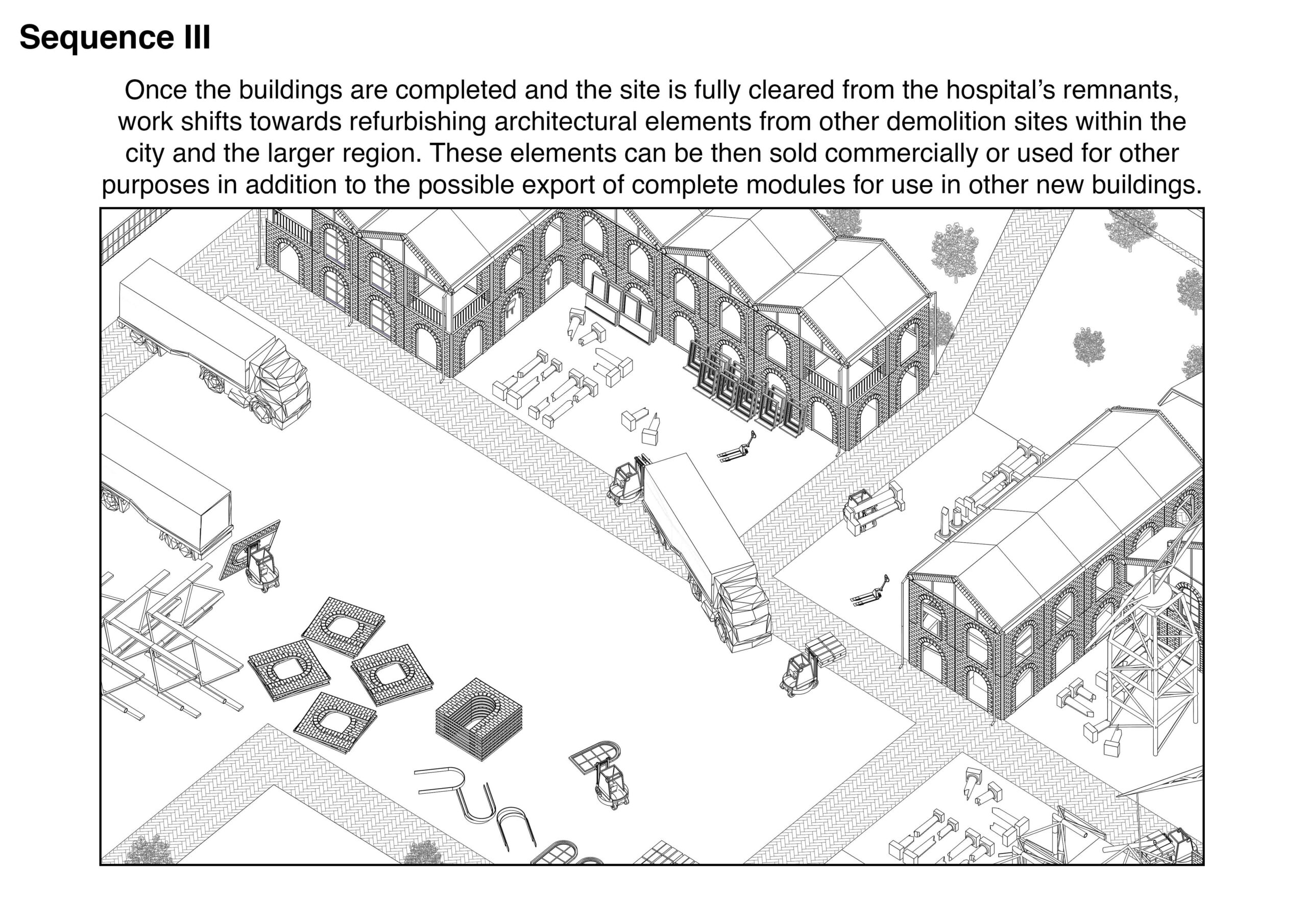 Portfolio Page of an axonometric drawing that shows the third stage of the process, where buildings are completed and the site is fully cleaned from the hospitals remnants and work shifts towards refurbishing elements from other demolition sites within the city and larger region.