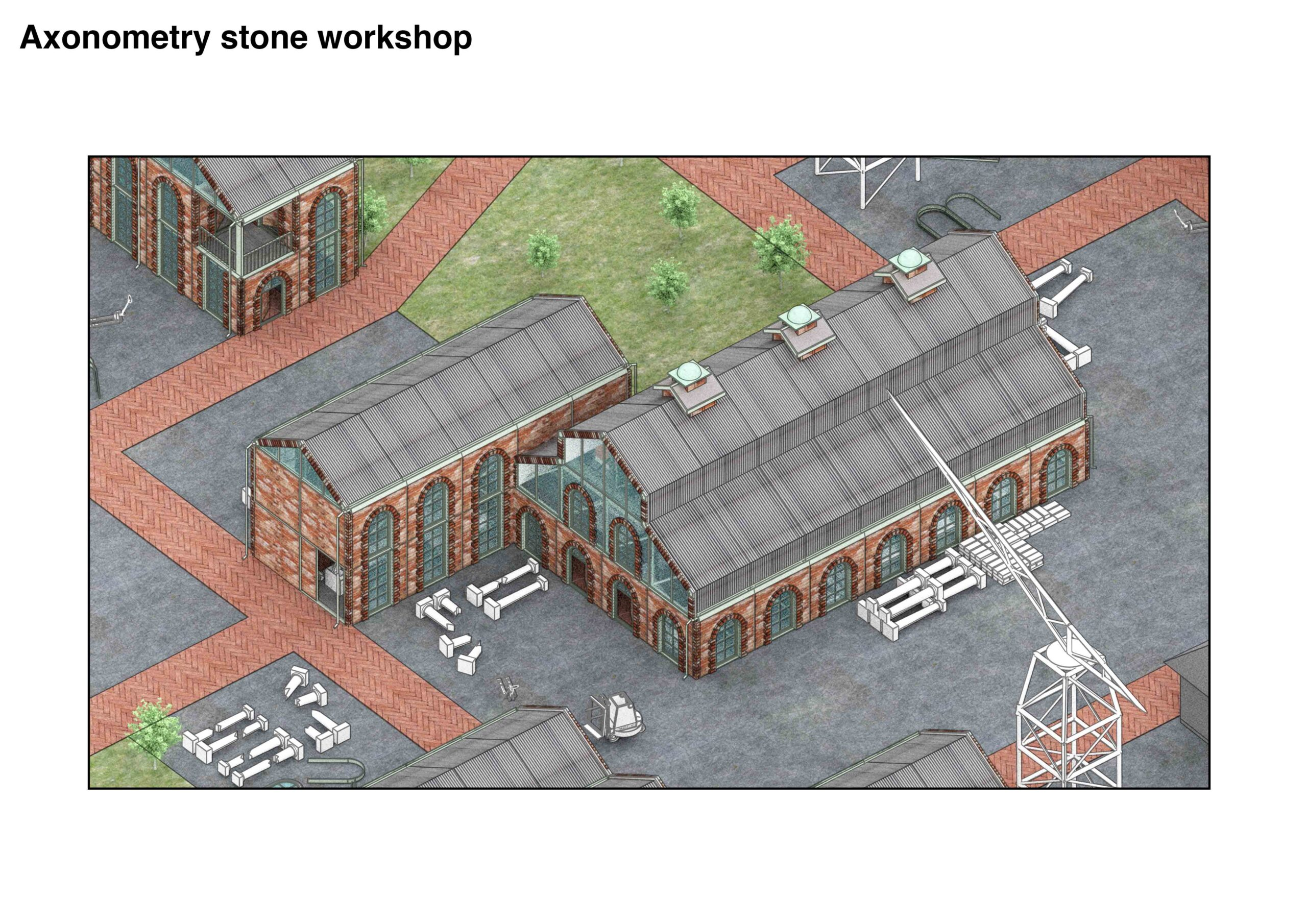 Portfolio Page of an axonometric of the stone workshop.