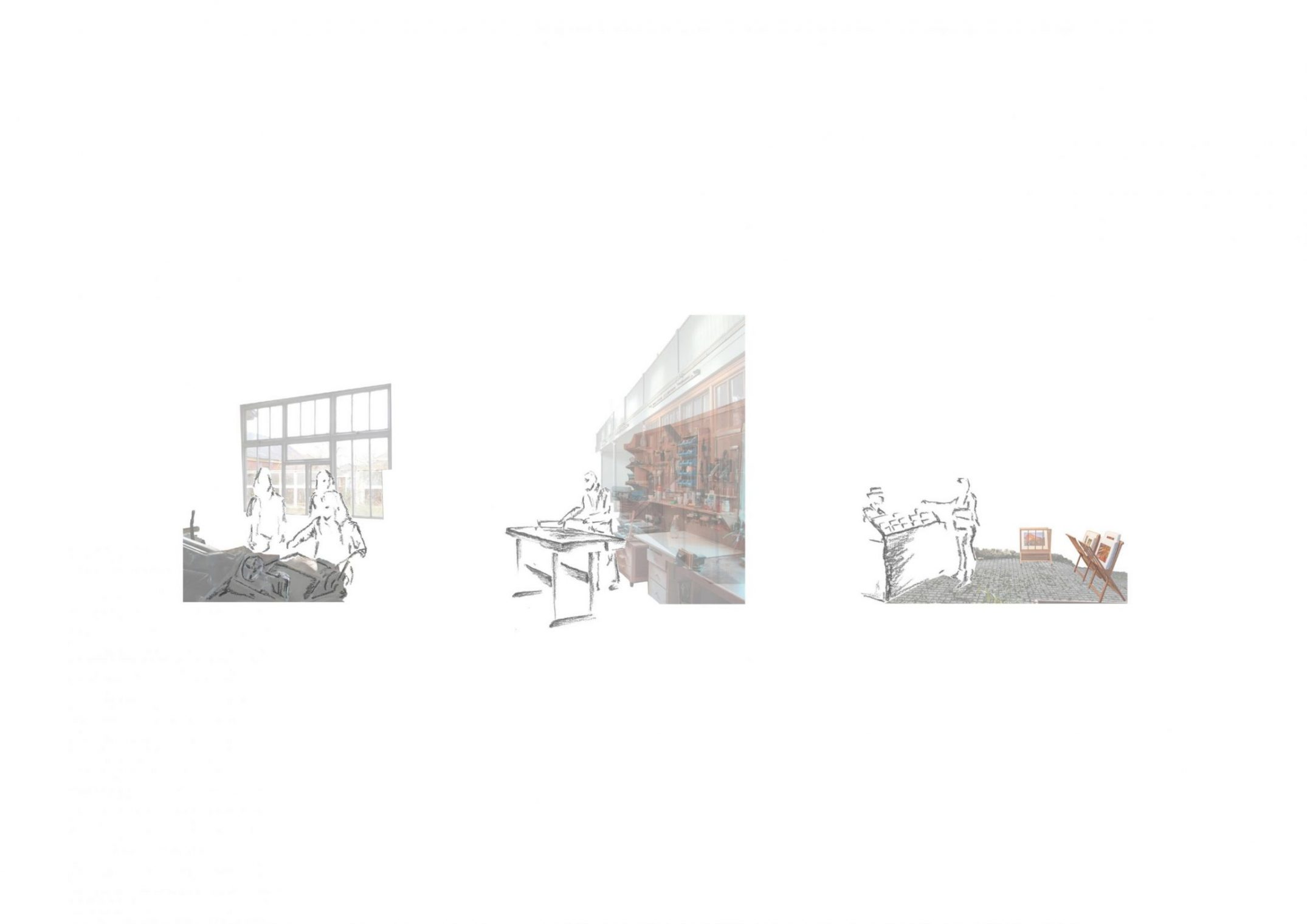 Three perspective drawings showing the activities available at the proposed Artists Resident Scheme at Whitchurch.