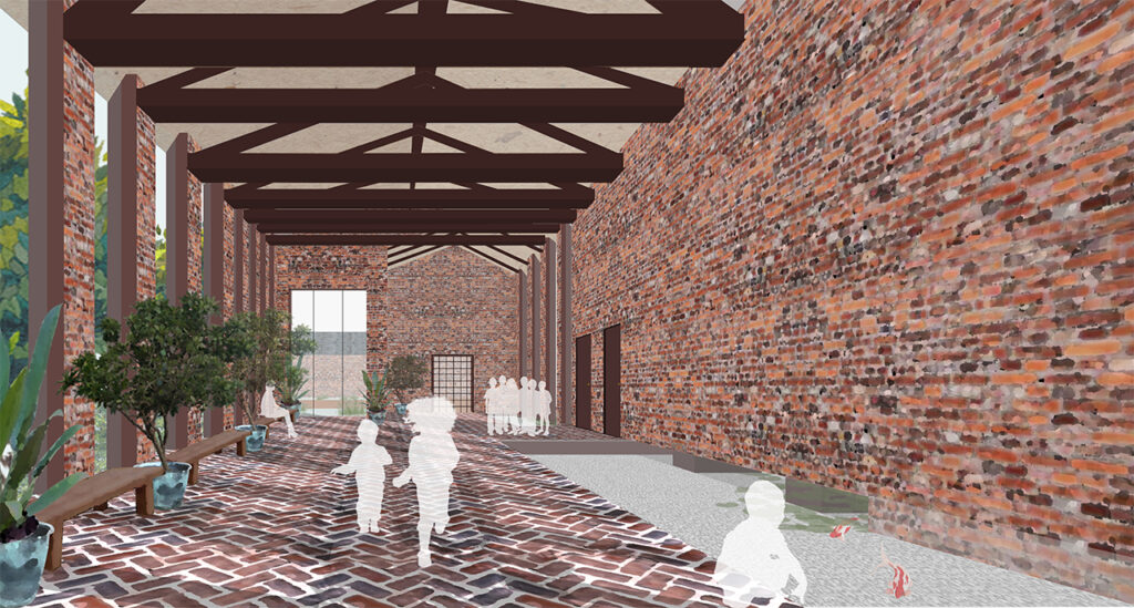 Interior render of the entrance, showing a long red brick space interspersed with large vertical panels of glazing. Water flows underneath the wall and is covered by glass flooring over a rectangular area on the right. On the left are benches and trees in pots, and the ceiling is formed of exposed rafters.