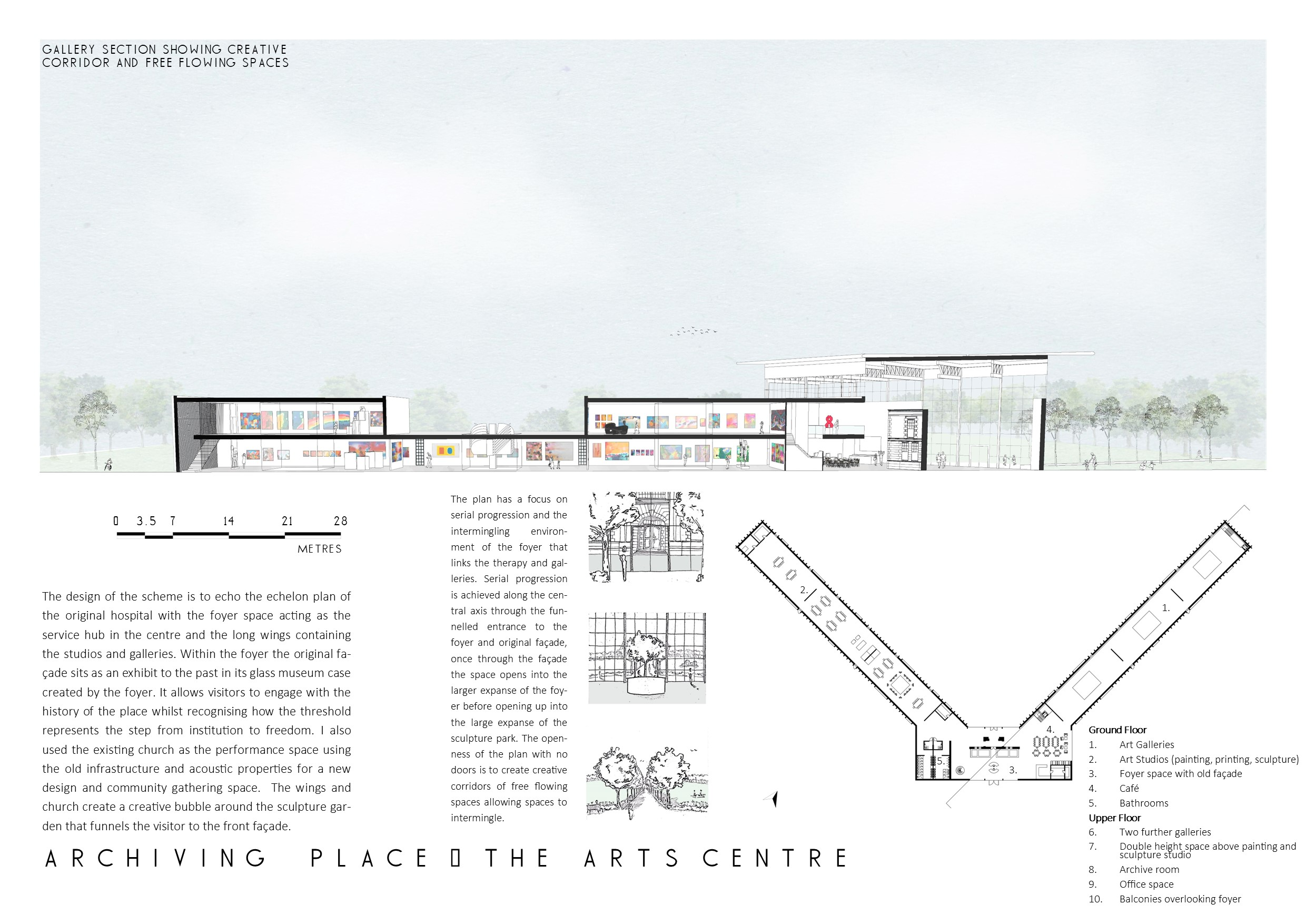 Portfolio Page of the arts centre, with a plan and perspective section of the art centre that echoes the echelon plan of the original hospital.
