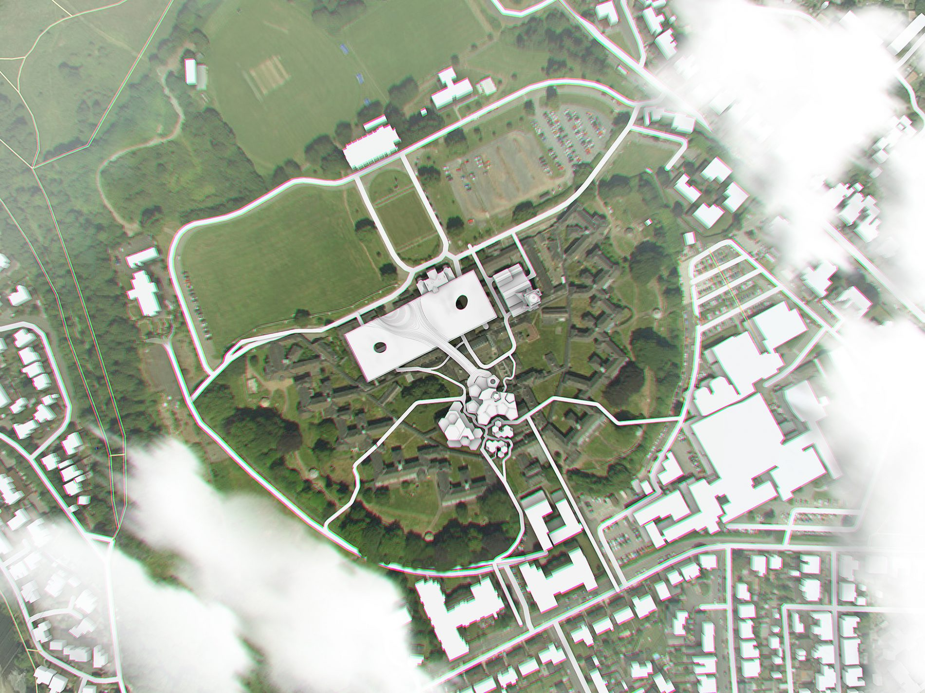 A site plan of the proposal for the visitor centre for mental health and well being at Whitchurch Hospital.