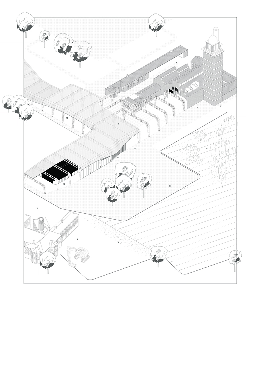An axonometric for the proposed facility for cultivate and create at Whitchurch Hopsital.