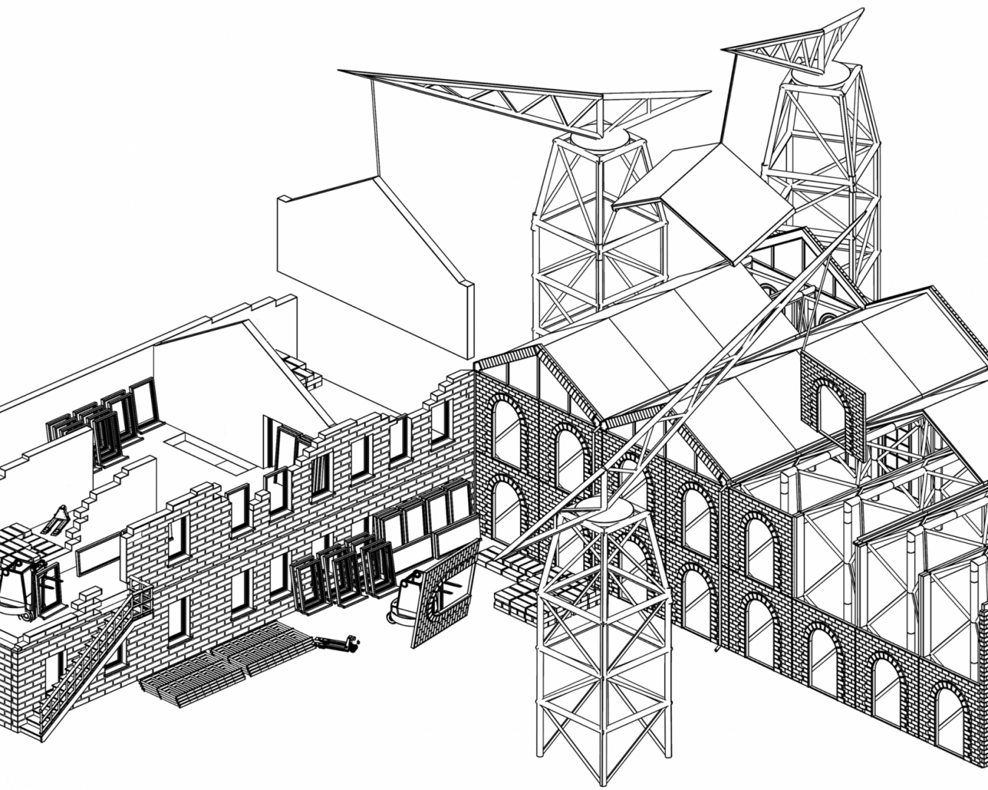 An axonometric drawing of the Archiving Architecture proposal showing architectural elements coming together on site.