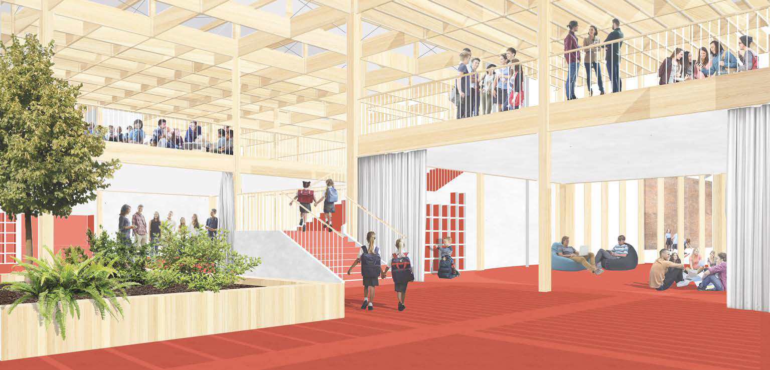 A perspective of the collaborative learning space, showing an exposed timber structure.