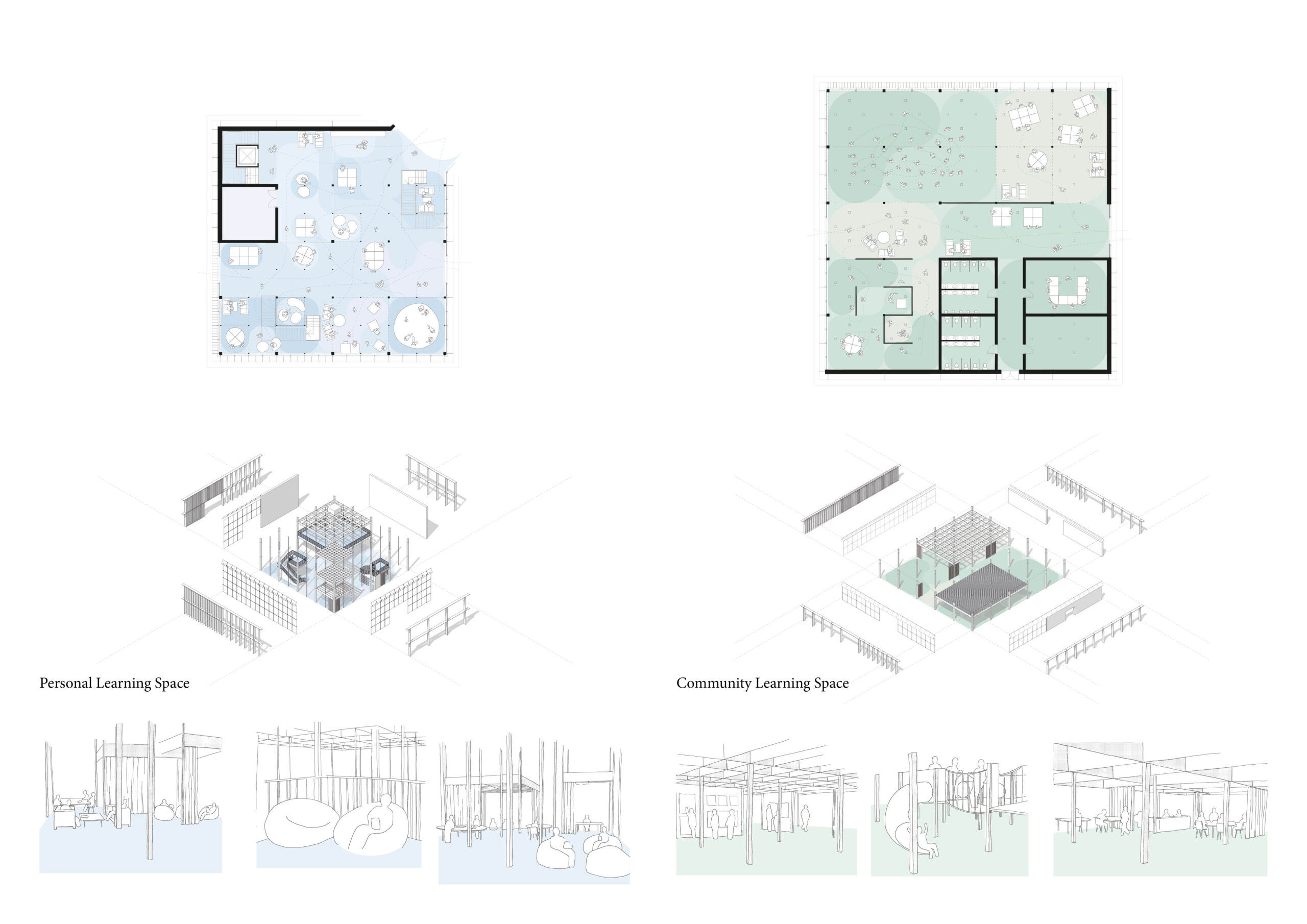 Portfolio Page of the Personal and Community Learning Spaces, with plans, axonometric drawings and perspectives.