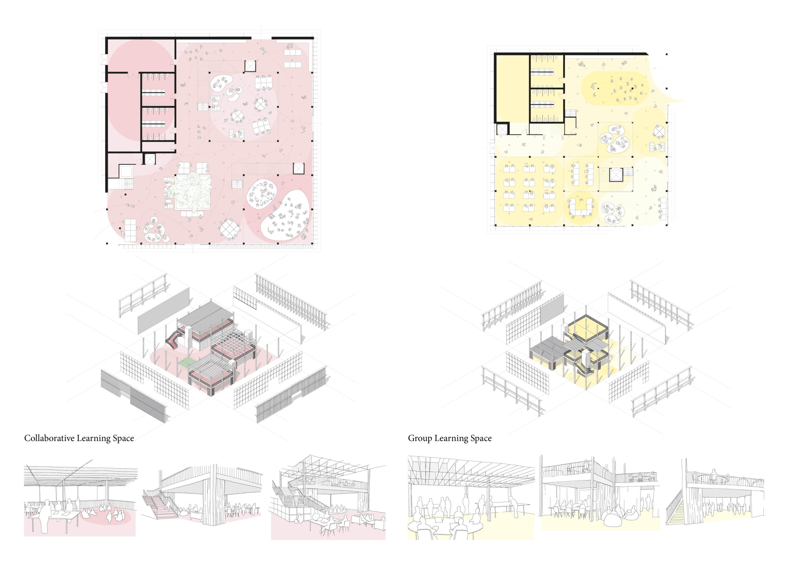 Portfolio Page of the Collaborative and Group Learning Spaces, with plans, axonometric drawings and perspectives.